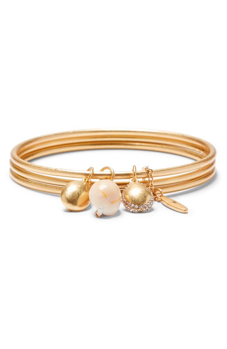 SOLE SOCIETY Charm Triple Layer Bangle Bracelet, Main, color, GOLD/ IVORY