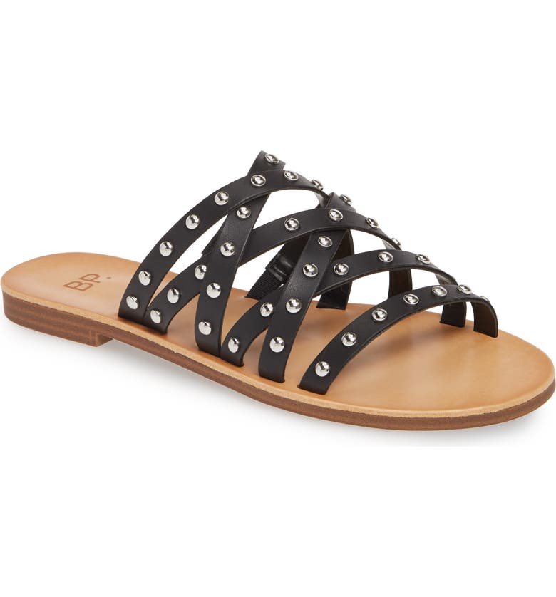BP. BP Wanda Studded Slide Sandal, Main, color, BLACK FAUX LEATHER