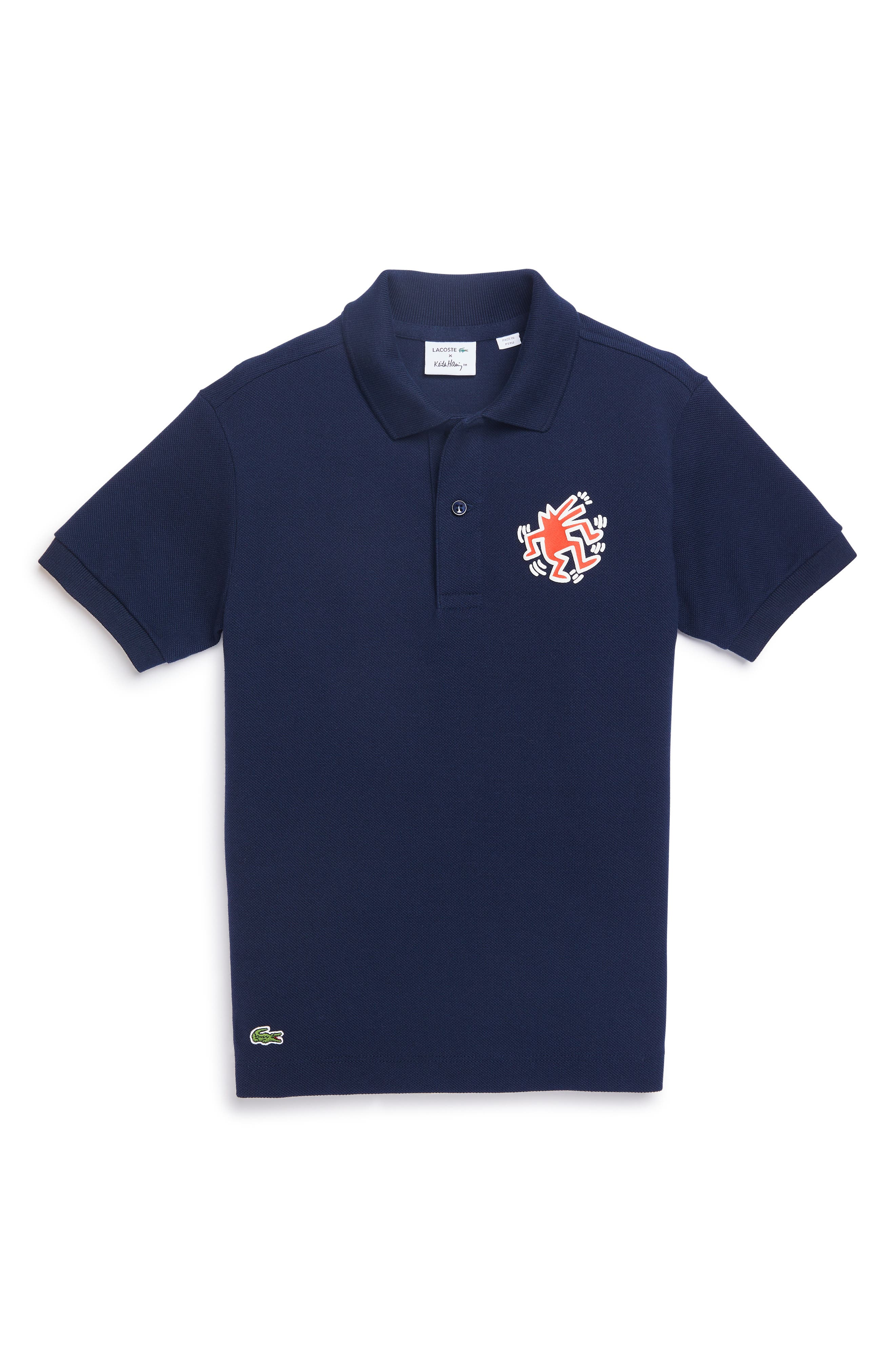 x Keith Haring Graphic Polo, Main, color, NAVY BLUE