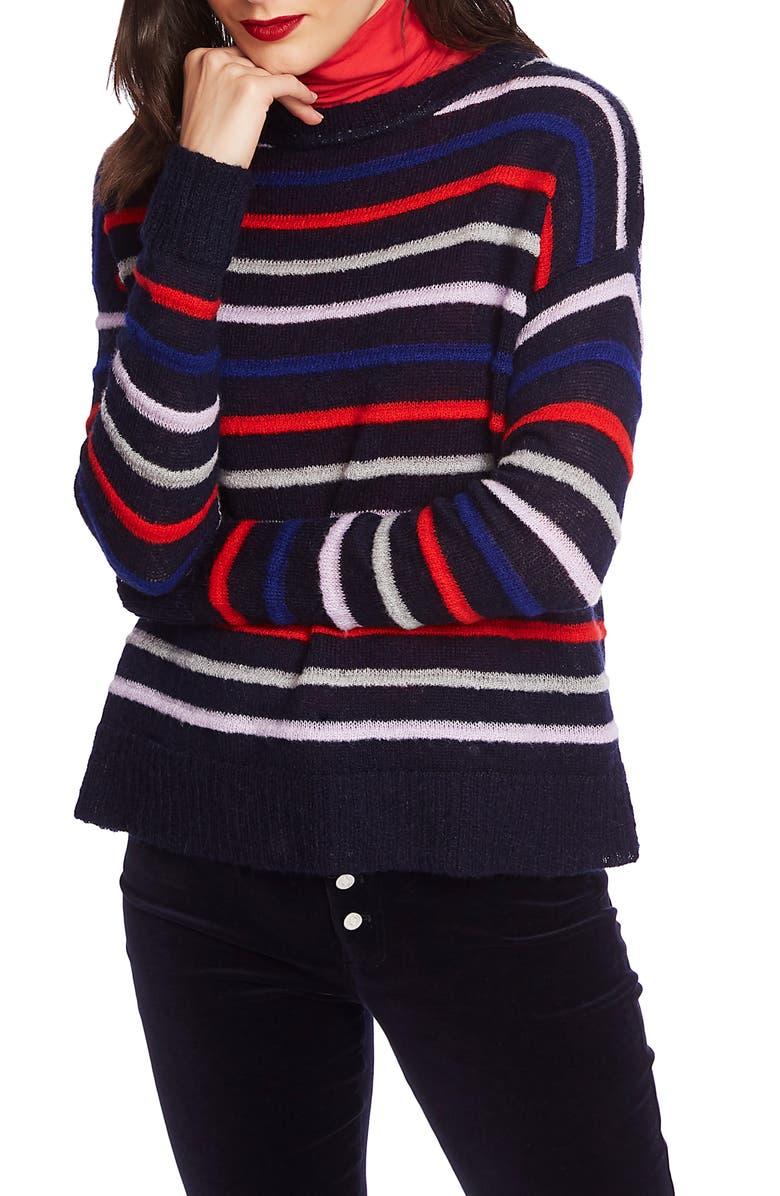 COURT & ROWE Stripe Sweater, Main, color, NAVY CRUSH