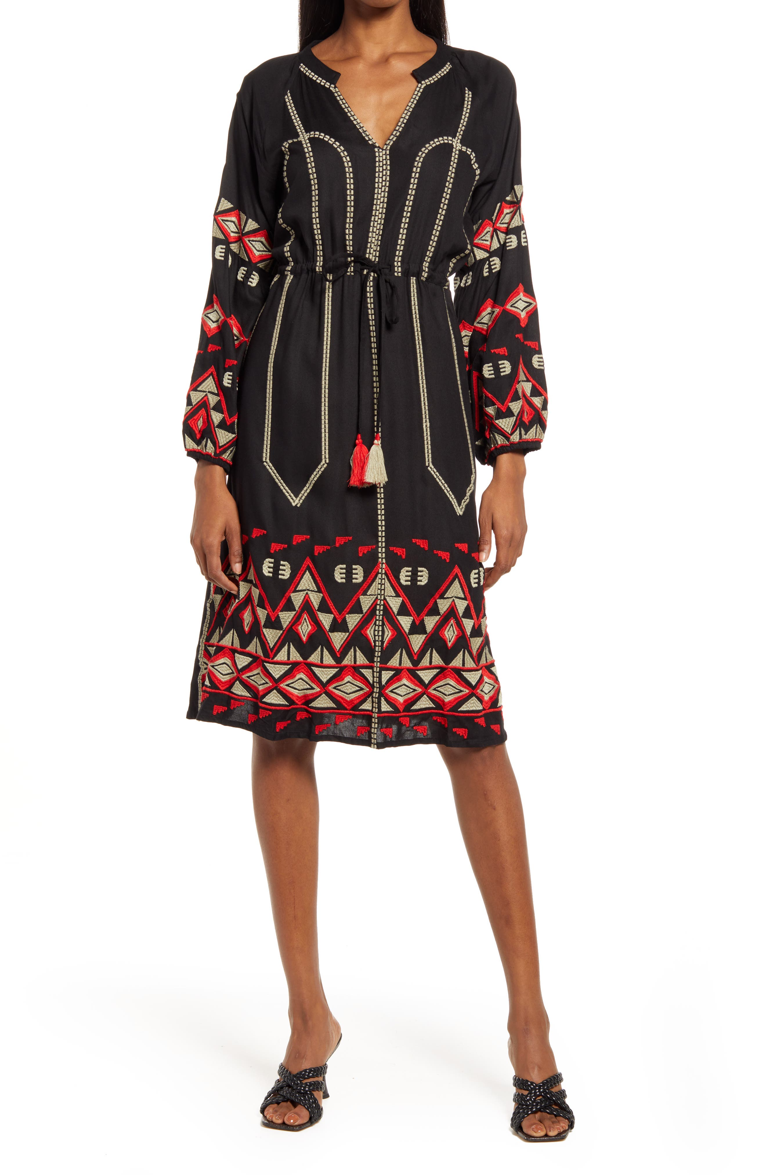 Bryant Embroidered Long Sleeve Dress