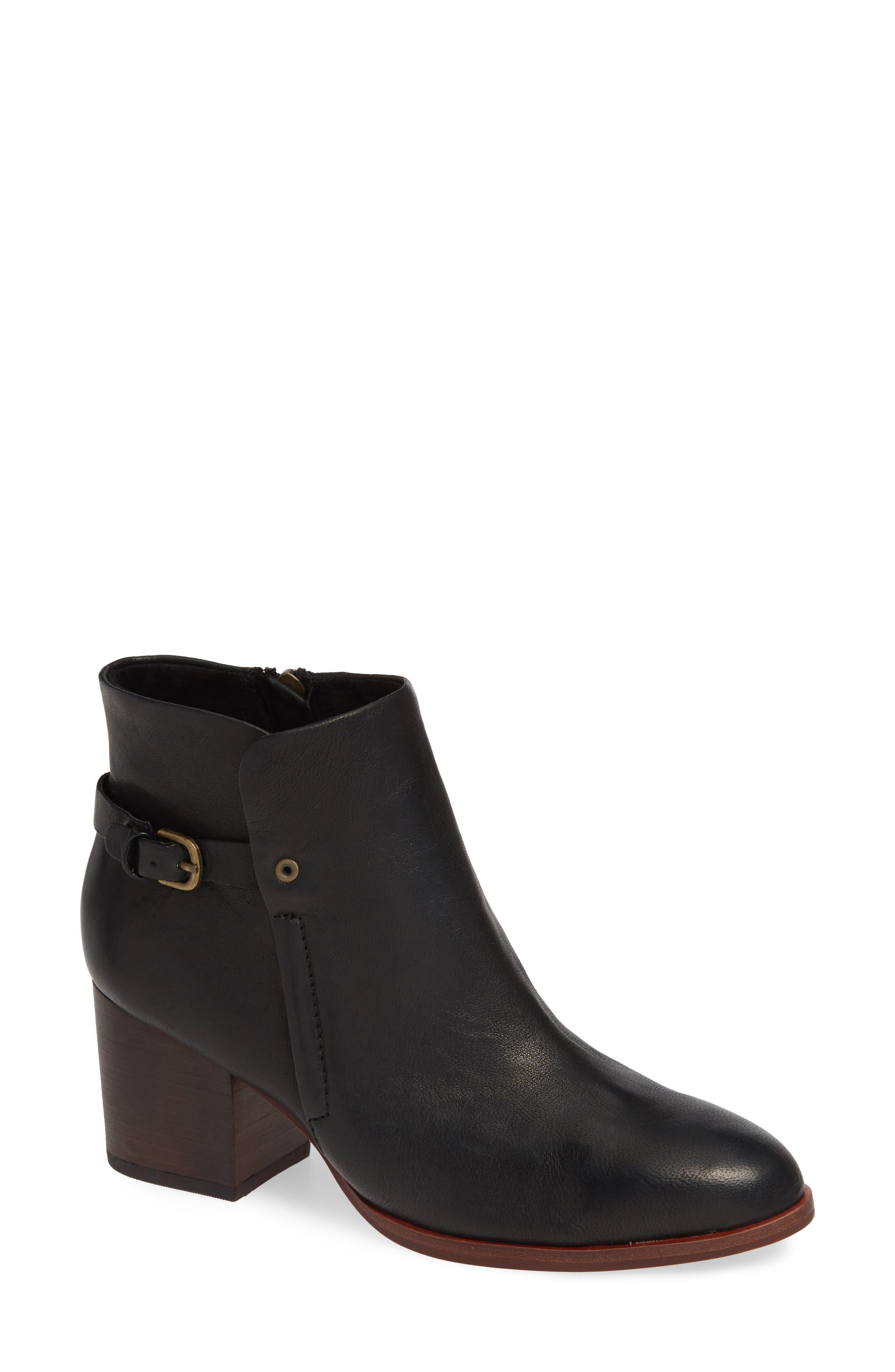 Orlinda Block Heel Bootie, Main, color, BLACK LEATHER