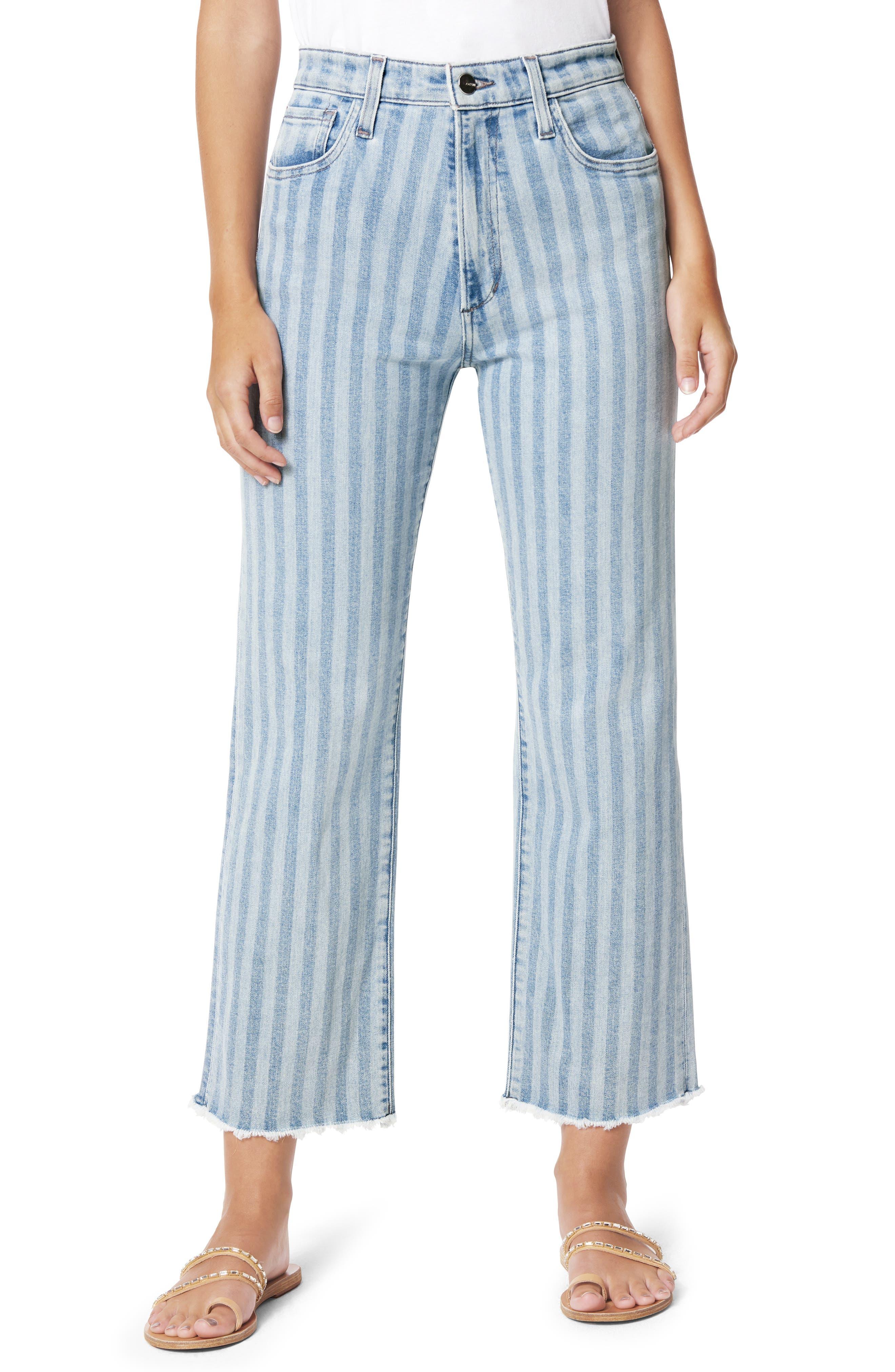 The Blake Stripe Fray Hem Crop Jeans