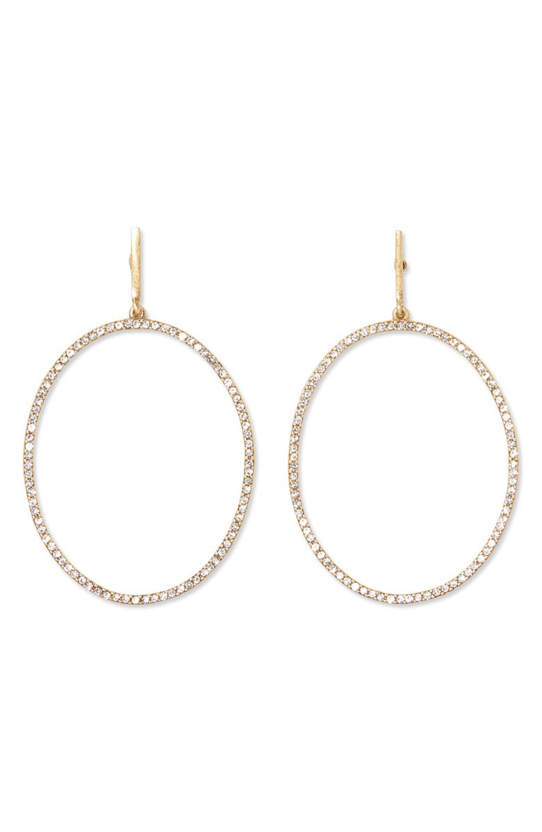 SOLE SOCIETY Crystal Pavé Frontal Hoop Earrings, Main, color, 12K SOFT POLISHED GOLD/ CRYS