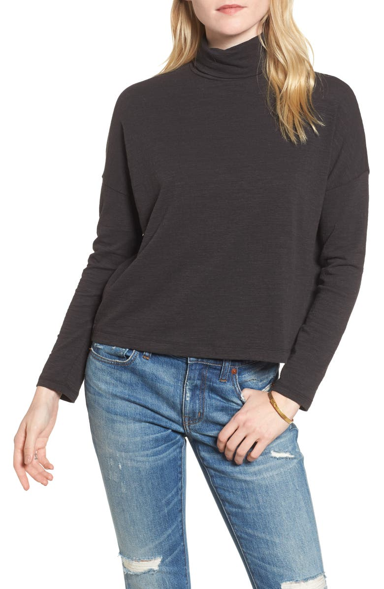 MADEWELL Boxy Turtleneck Top, Main, color, 001