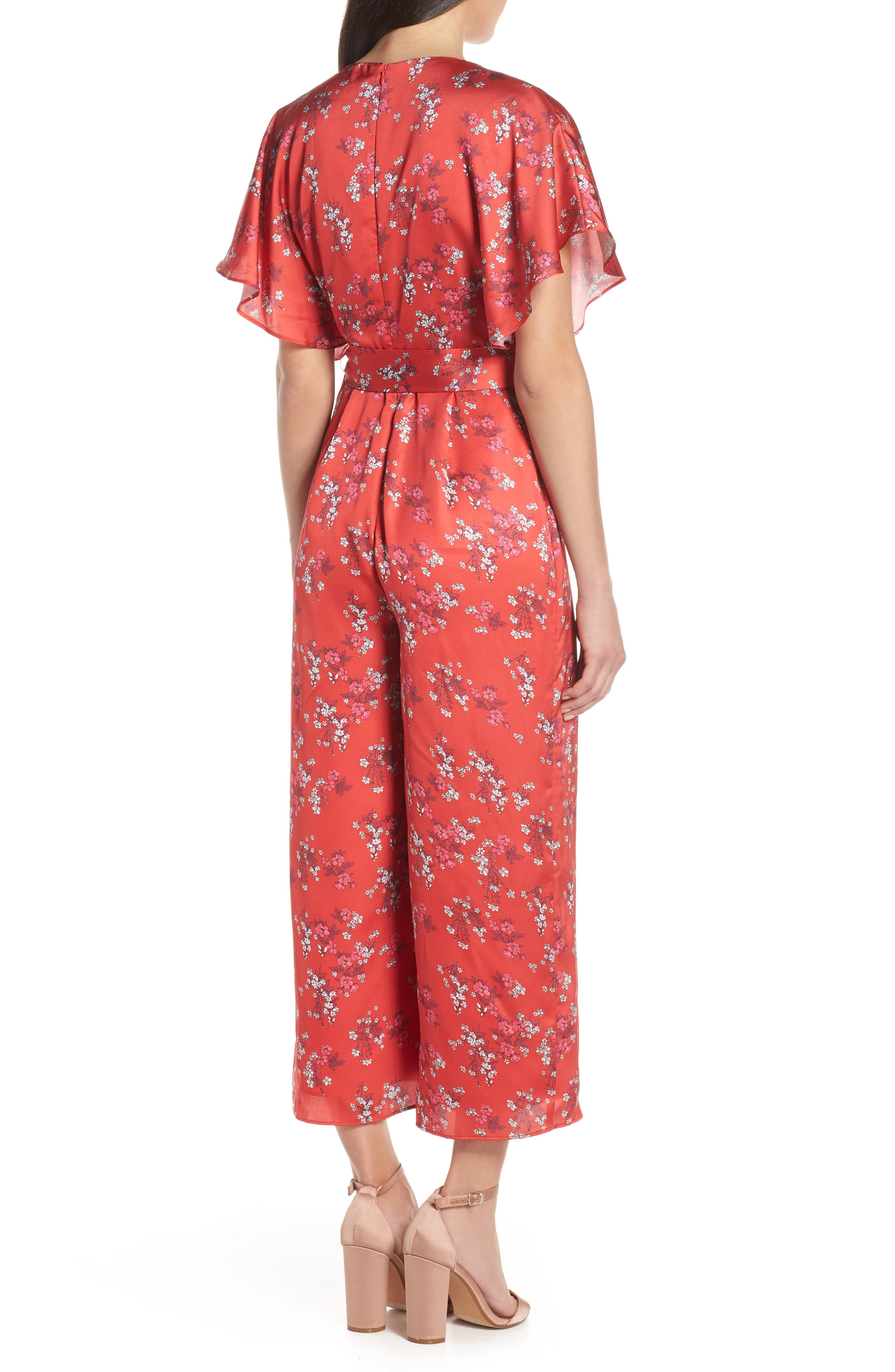 ,                             Stop Me Wrap Jumpsuit,                             Alternate thumbnail 2, color,                             SMALL RED FLORAL