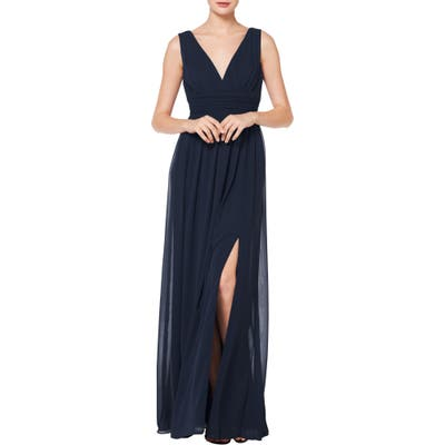 #levkoff V-Neck Pleated Chiffon Evening Dress
