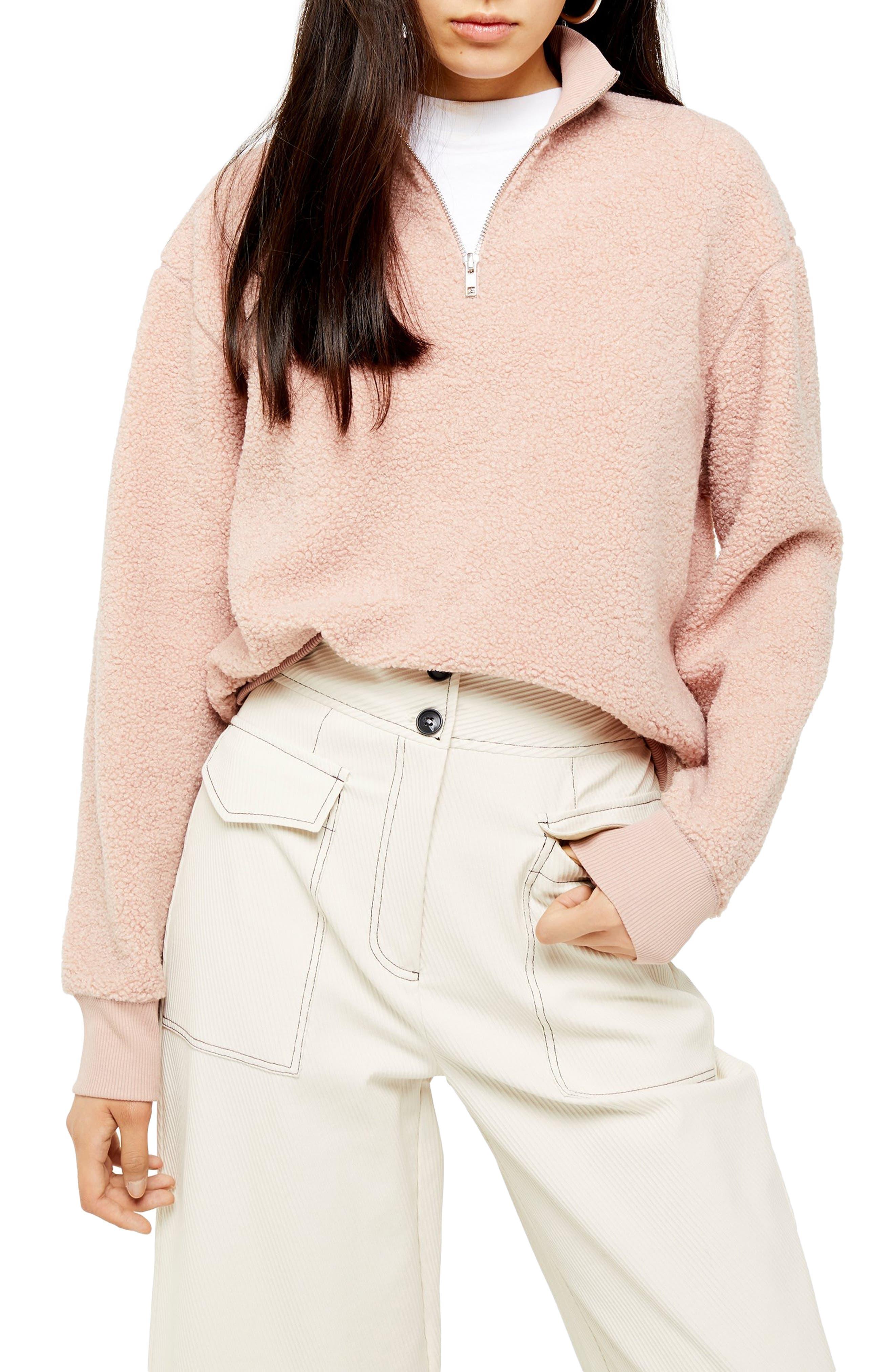 Topshop Half Zip Funnel Neck Sweatshirt (Regular & Petite)