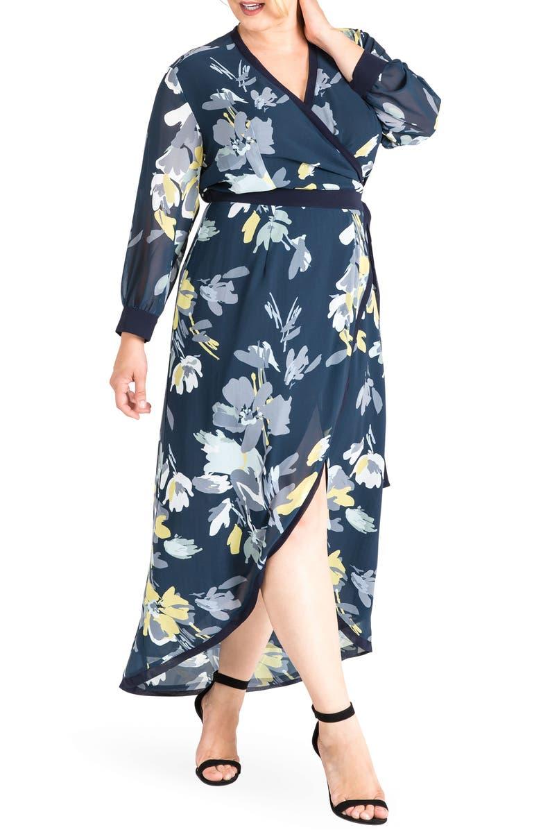 STANDARDS & PRACTICES Elle High/Low Wrap Dress, Main, color, NAVY PETALS