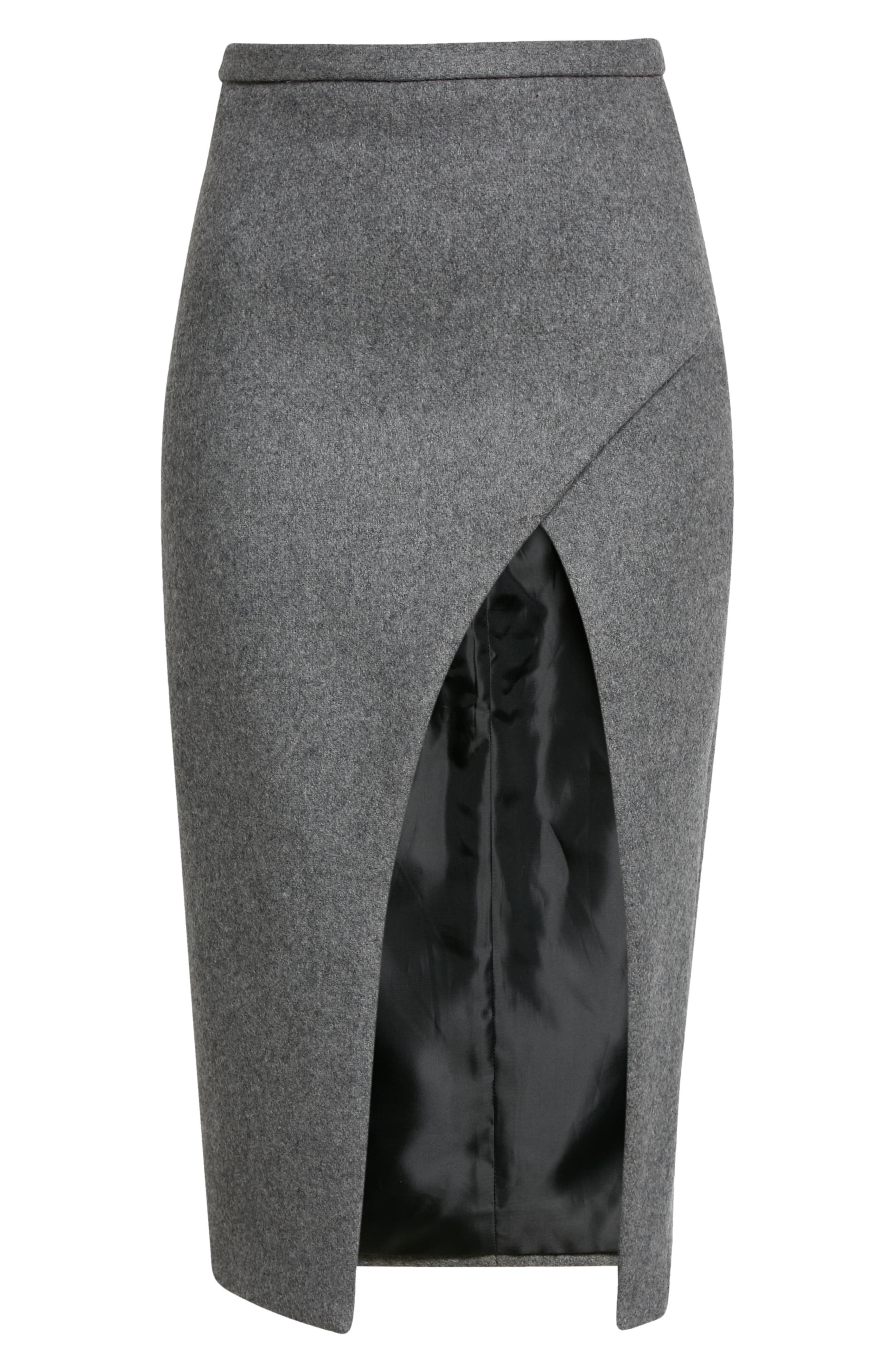 Open Front Boiled Wool Blend Pencil Skirt