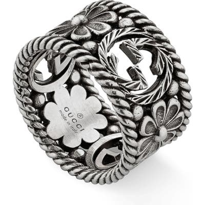 Gucci Large Interlocking-G Floral Ring
