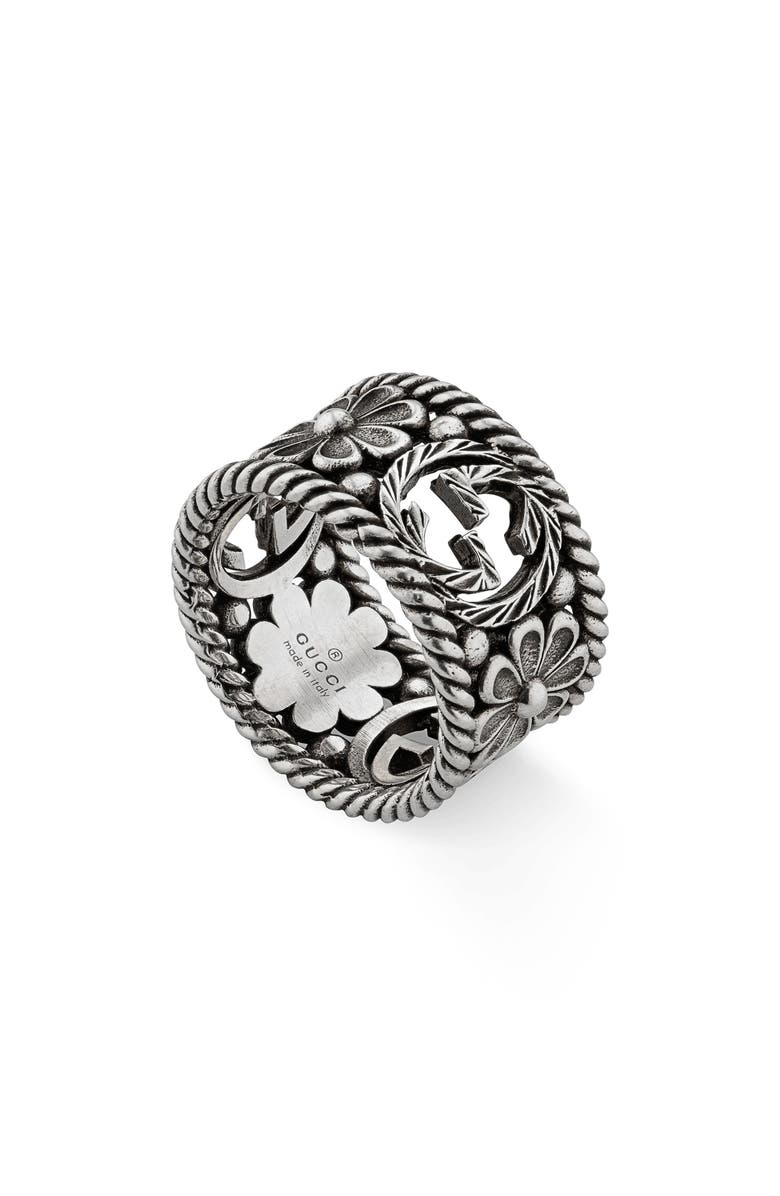 GUCCI Large Interlocking-G Floral Ring, Main, color, STERLING SILVER