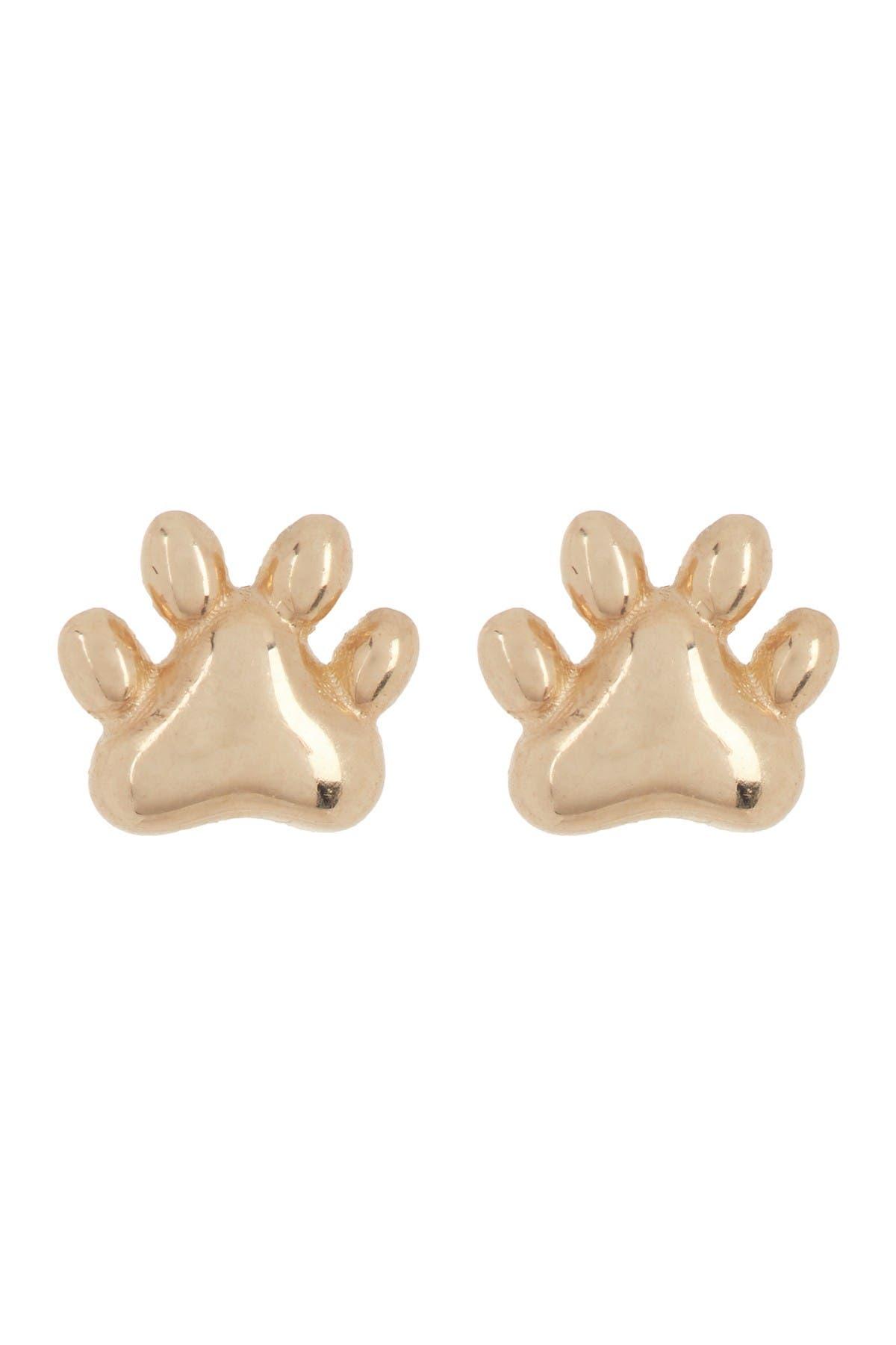 Image of Candela 14K Yellow Gold Paw Print Stud Earrings