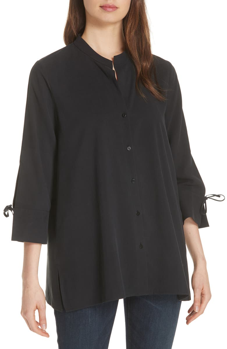 1536f934b359a4 Eileen Fisher Tie Sleeve Silk Shirt (Regular & Petite) | Nordstrom
