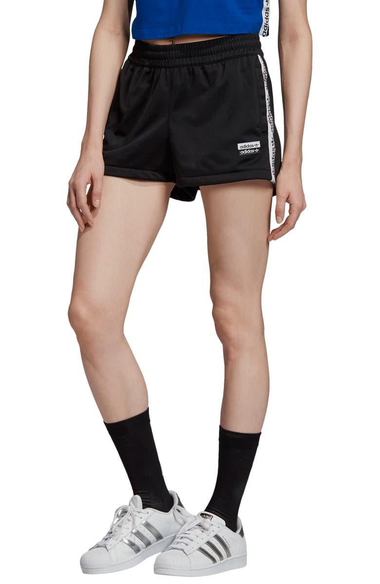 ADIDAS ORIGINALS Logo Tape Shorts, Main, color, BLACK