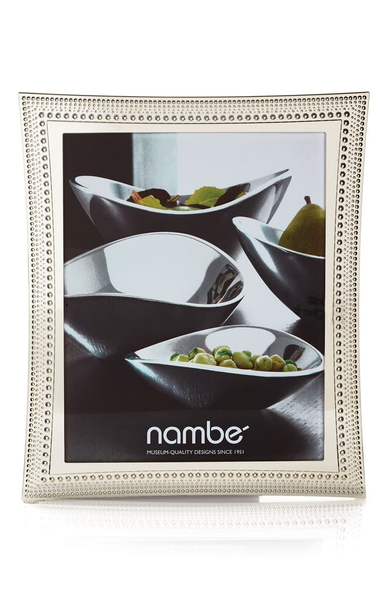 NAMBÉ Beaded Picture Frame, Main, color, SILVER