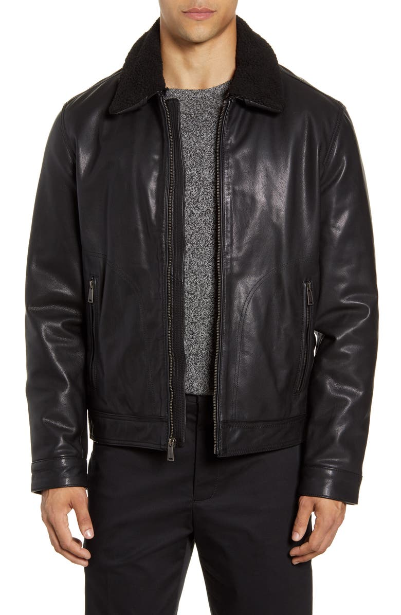 COLE HAAN Leather Aviator Jacket, Main, color, BLACK