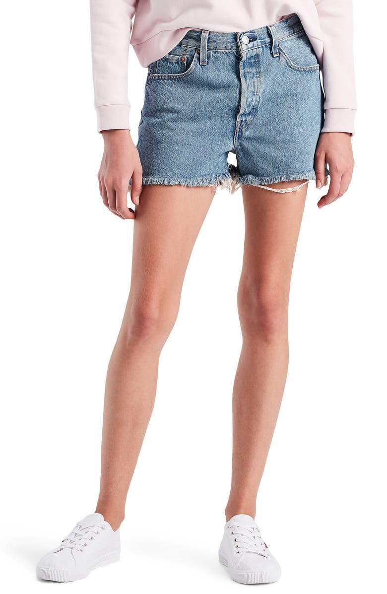 LEVI'S<SUP>®</SUP> 501<sup>®</sup> High Waist Cutoff Denim Shorts, Main, color, FLAT BROKE