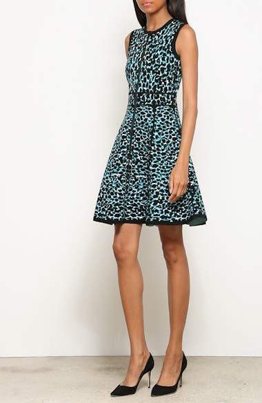 Leopard Print Zip Front Fit & Flare Dress, video thumbnail
