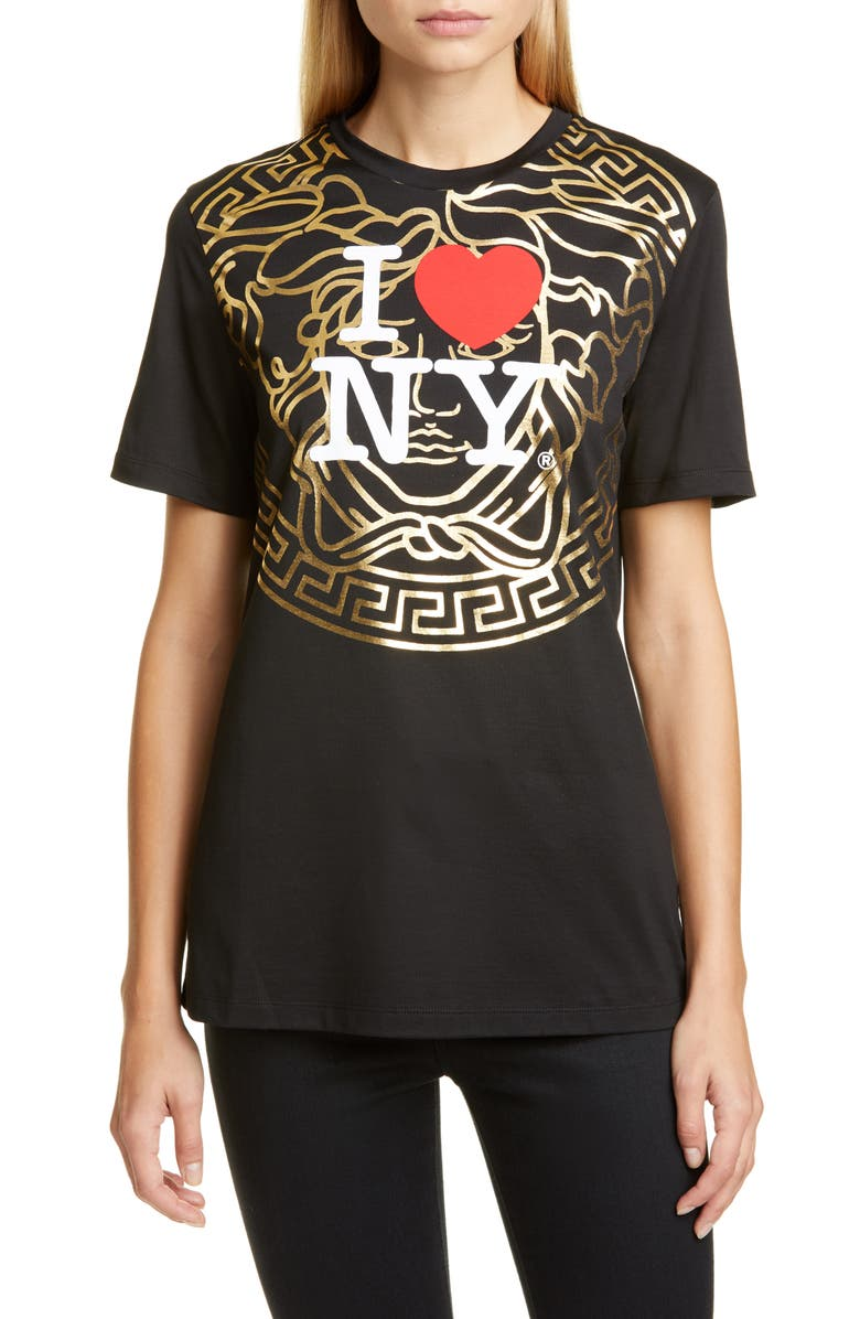VERSACE NY Medusa Logo Graphic Tee, Main, color, BLACK