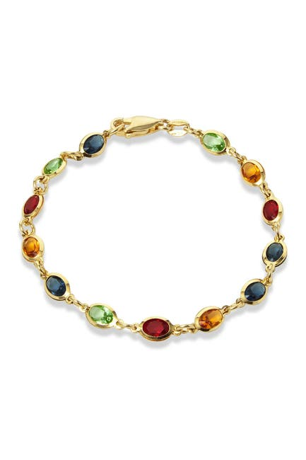 Image of Savvy Cie 18K Gold Plated Multi Color CZ Tennis Bracelet
