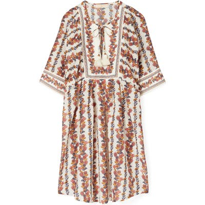 Tory Burch Tropical Print Cotton & Silk Cover-Up Tunic Dress, Orange
