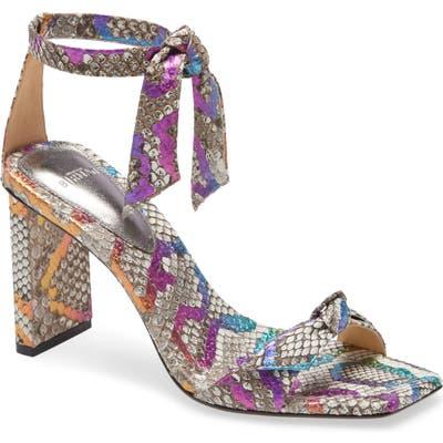 Alexandre Birman Clarita Genuine Python Ankle Tie Sandal, Grey