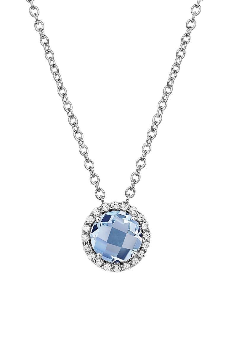 LAFONN Birthstone Halo Pendant Necklace, Main, color, MARCH AQUAMARINE / SILVER