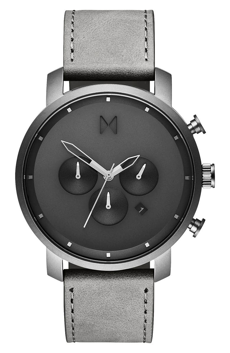 MVMT The Chrono Chronograph Leather Strap Watch, 45mm, Main, color, GREY/ BLACK/ SILVER