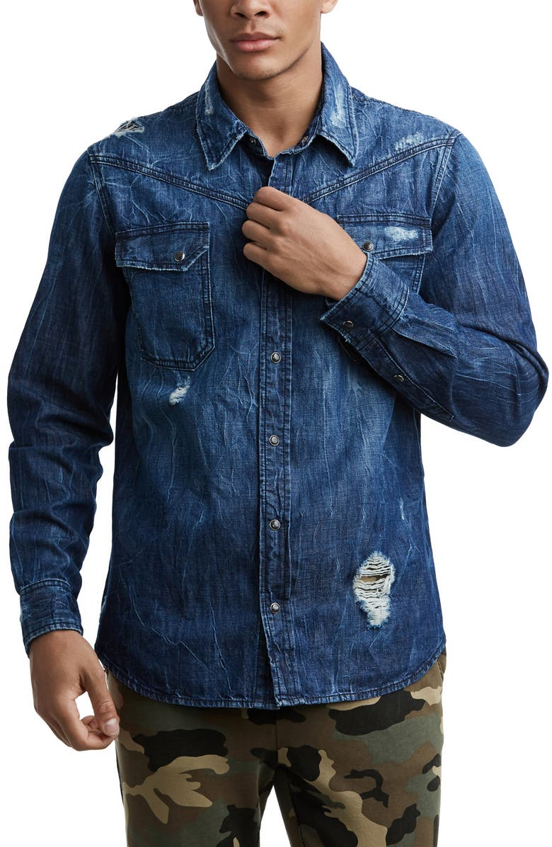 TRUE RELIGION BRAND JEANS Carter Distressed Denim Shirt, Main, color, EPIC NIGHT