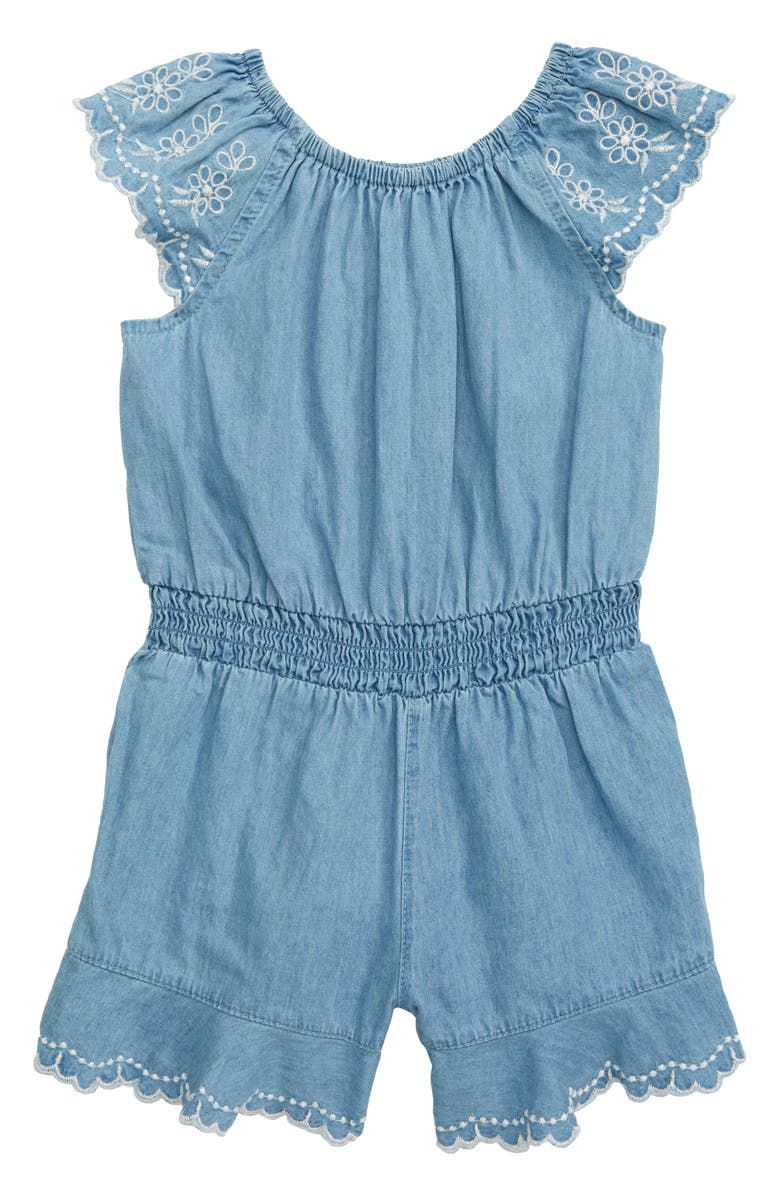 LITTLE ME Chambray Romper, Main, color, 457