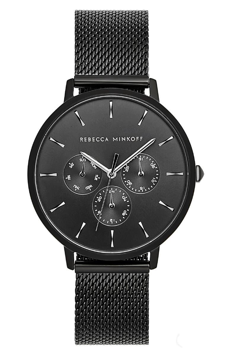 REBECCA MINKOFF Major Chronograph Bracelet Watch, 38mm, Main, color, 001