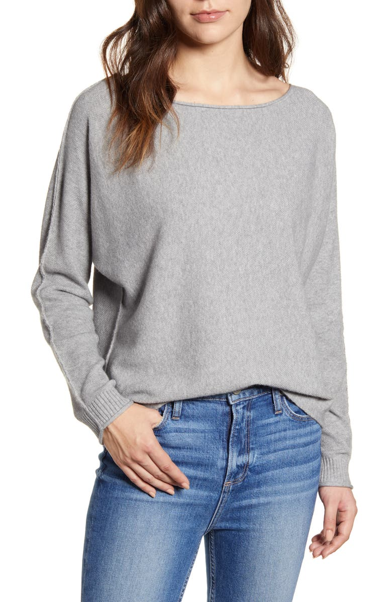 CASLON<SUP>®</SUP> Dolman Sweater, Main, color, GREY HEATHER