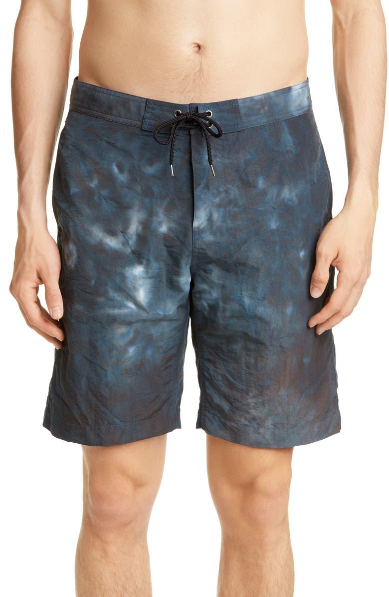 JOHN ELLIOTT Solar Board Shorts, Main, color, TEAL TIE DYE