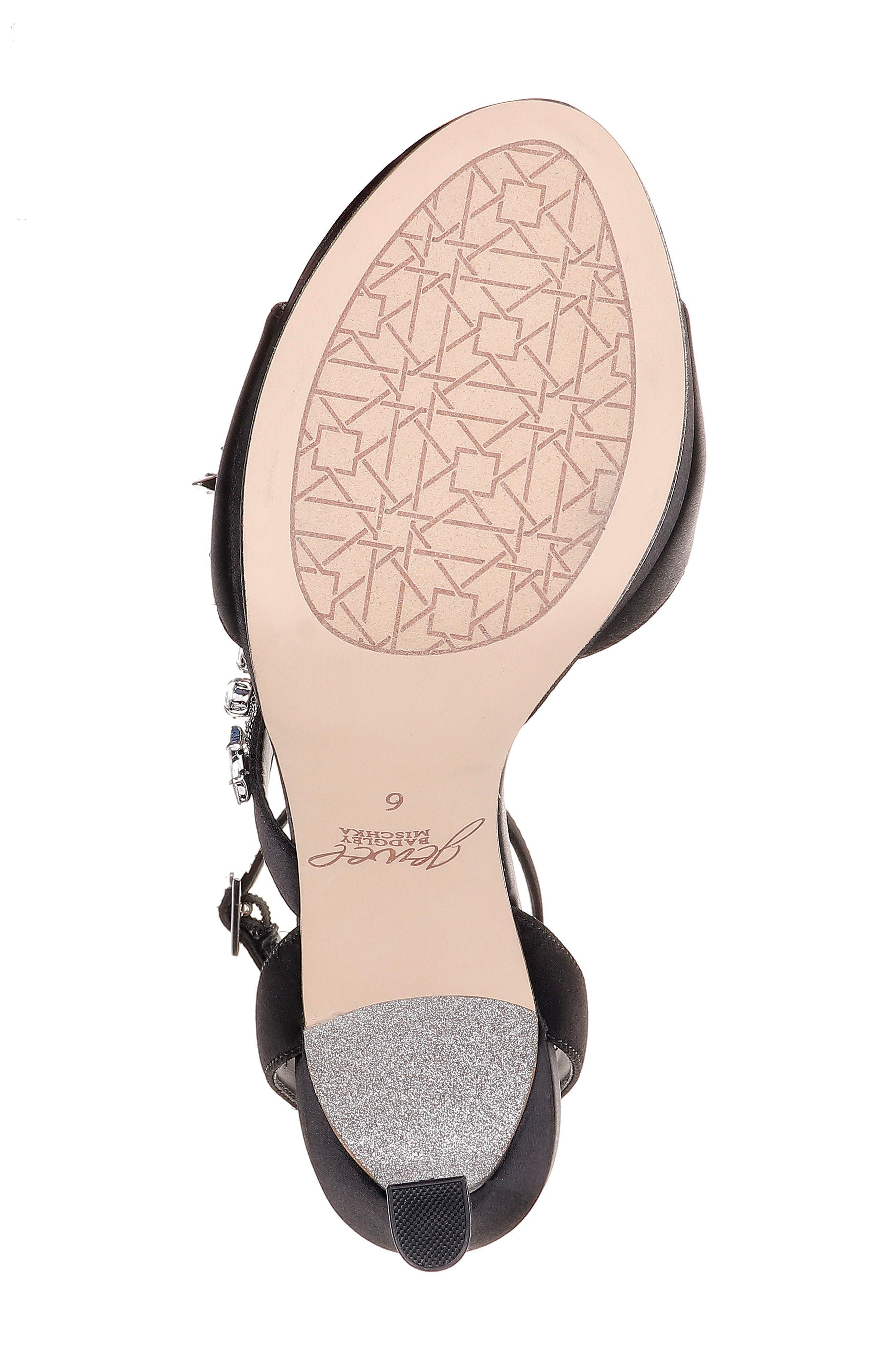 ,                             Kaira Crystal Embellished Ankle Strap Sandal,                             Alternate thumbnail 6, color,                             BLACK CRYSTAL SATIN