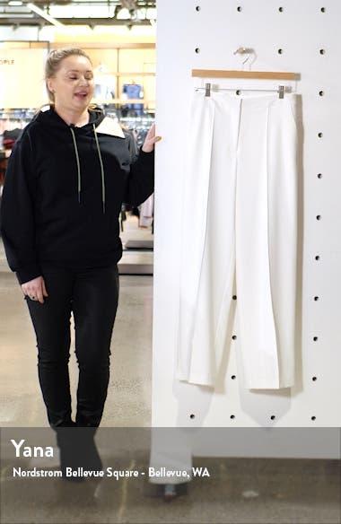Pintuck Detail Wide Leg Textured Twill Pants, sales video thumbnail