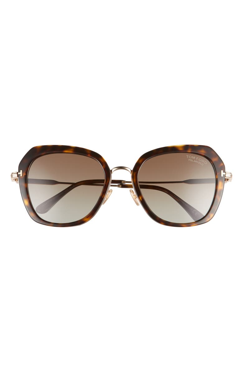 TOM FORD Kenyan 54mm Round Polarized Sunglasses, Main, color, 200