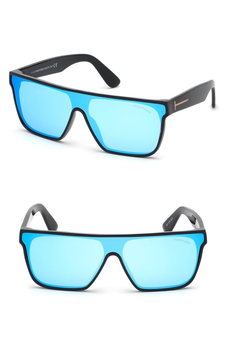 TOM FORD 140mm Shield Sunglasses, Main, color, SHINY BLACK/ BLUE