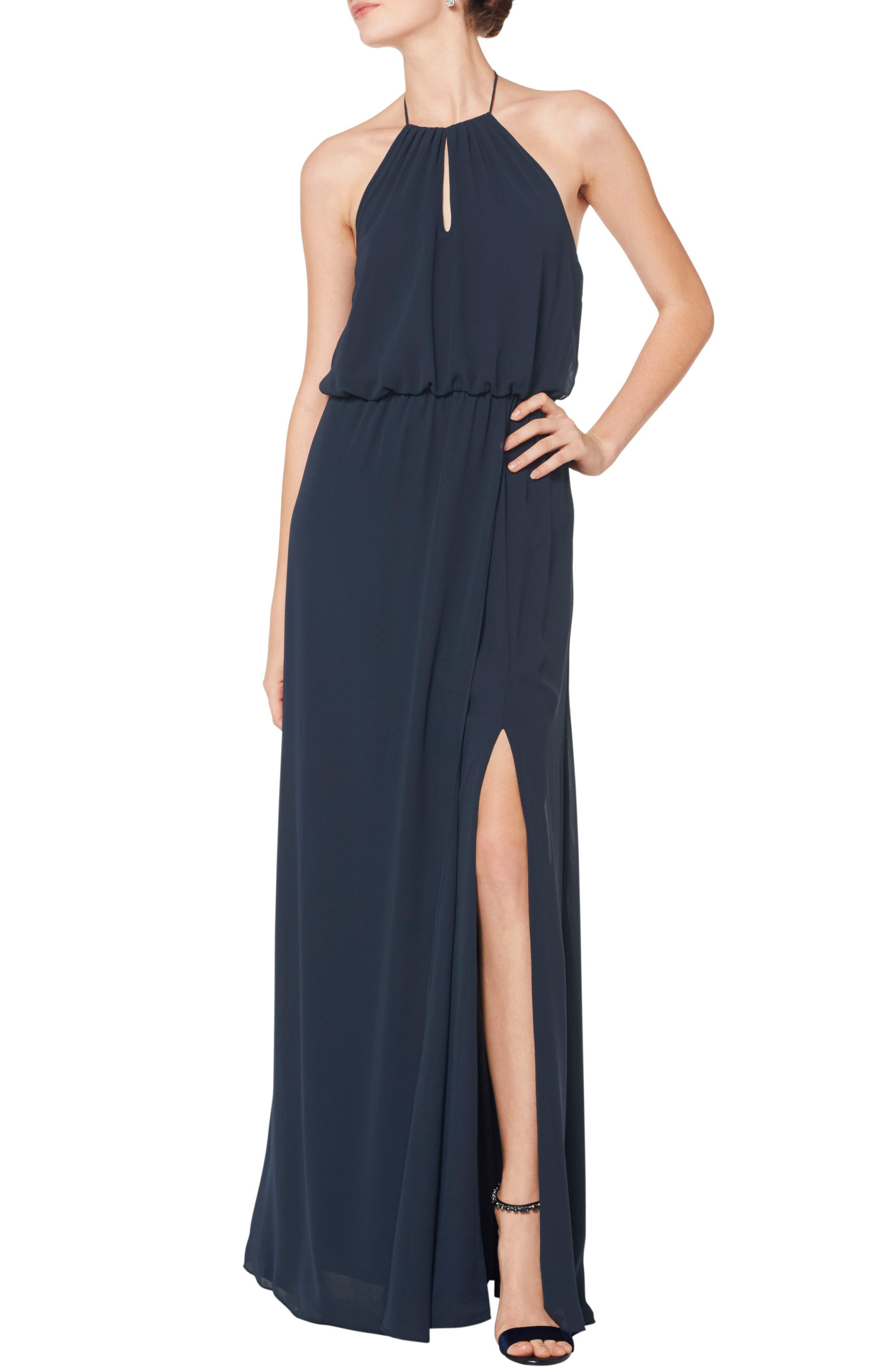 Simply romantic, with a blouson bodice and flowing chiffon, this halter-style gown looks effortlessly elegant-because it is. The A-line silhouette makes the dress effortlessly flattering and perfect for bridesmaids or wearing to a formal event. Style Name:#levkoff Blouson Chiffon A-Line Gown. Style Number: 5774987. Available in stores.