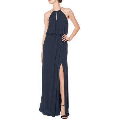 #levkoff Halter Keyhole Blouson Chiffon Evening Dress, Blue