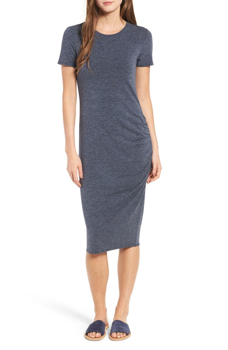 TREASURE & BOND Side Ruched Body-Con Dress, Main, color, NAVY NIGHT HEATHER