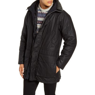 Barbour Fenton Hooded Waxed Cotton Jacket, Black