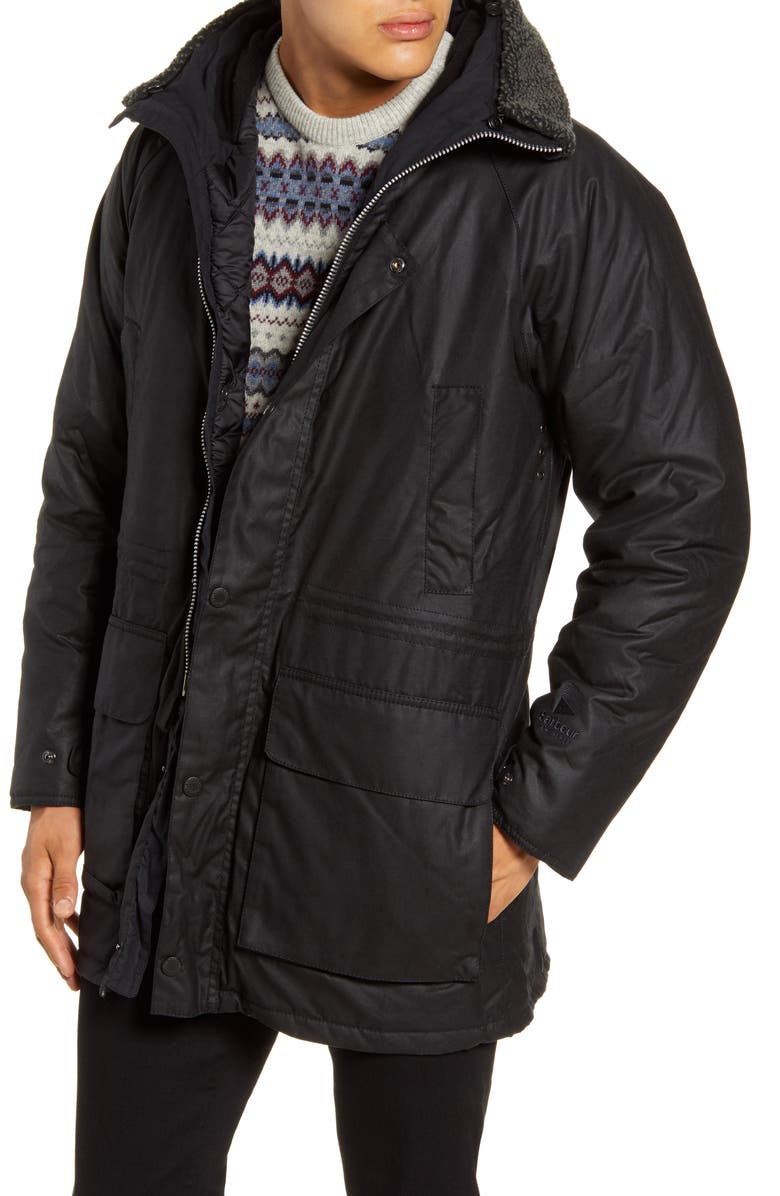 BARBOUR Fenton Hooded Waxed Cotton Jacket, Main, color, BLACK