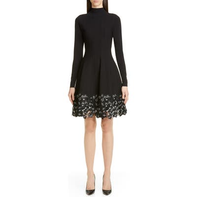 Lela Rose Lace Hem Long Sleeve Fit & Flare Sweater Dress, Black