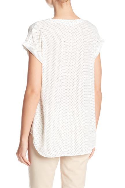 Image of Philosophy Apparel Split Neck Rolled Sleeve Blouse