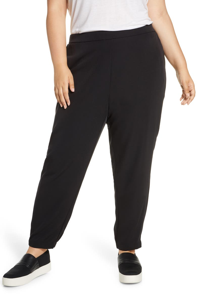 EILEEN FISHER Track Pants, Main, color, BLACK
