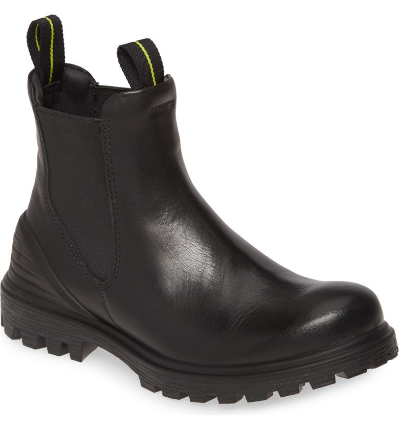 ECCO Tred Tray Waterproof Chelsea Boot, Main, color, BLACK LEATHER