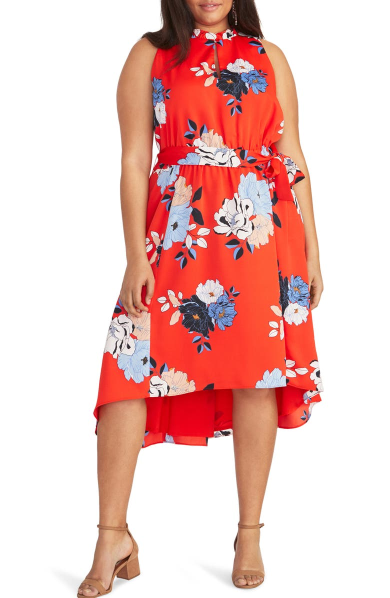 RACHEL RACHEL ROY Concetta High/Low Dress, Main, color, RADIANT RED COMBO