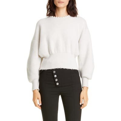 Alexander Wang Imitation Pearl Trim Wool & Cashmere Blend Sweater, Ivory