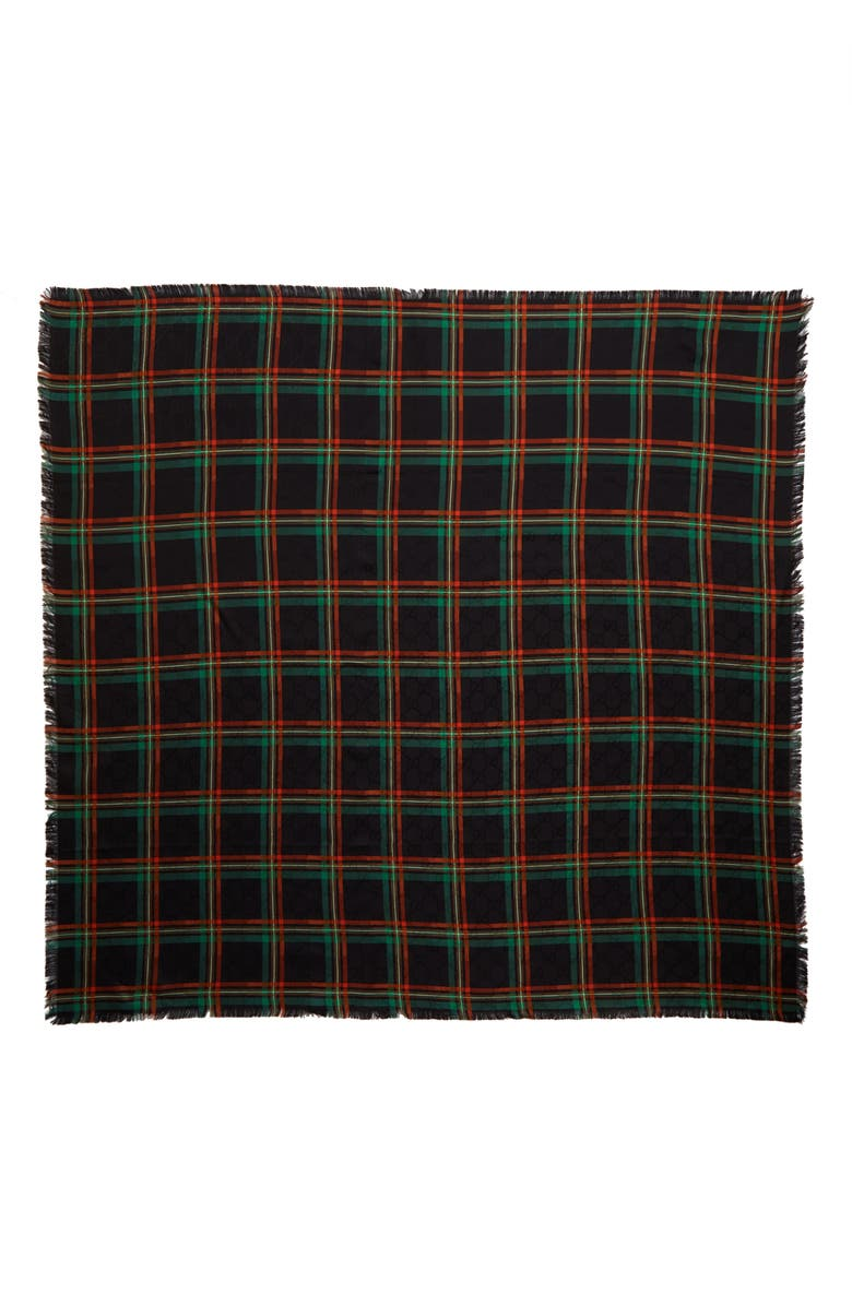 GUCCI Tartan Plaid Fringe Silk Scarf, Main, color, BLACK/ RED